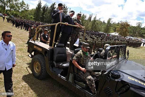 Honduran de facto leader Roberto Micheletti Honduran Defense Minister Adolfo Leonel Sevilla and the Chief of the Honduran Armed Forces General Romeo...