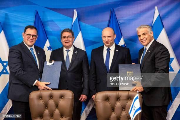 Honduran Foreign Minister Lisandro, Honduran President Juan Orlando Hernandez, Israeli Prime Minister Naftali Bennett, and Israeli Foreign Minister...