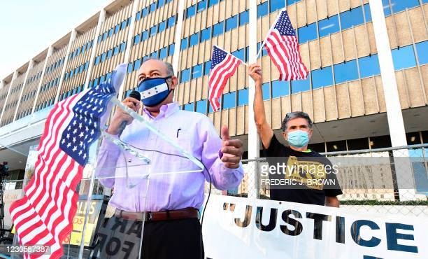 Honduran immigrant Leoncio Velasquez speaks at a rally outside the Federal Building in Los Angeles, California on January 14, 2021. - Los Angeles...