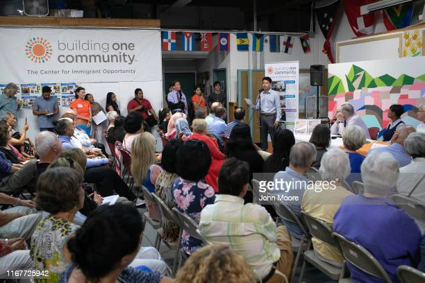 Honduran immigrant Michael Hernandez speaks at a town hallstyle event held to reassure the nervous immigrant community on August 12 2019 in Stamford...