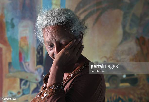Honduran migrant Blanca Lydia Valenzuela wipes a tear while at a shelter for undocumented immigrants on September 15 2014 in Tenosique Mexico She...