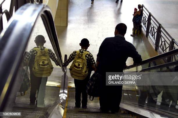 Honduran migrants arrive at the Gran Central Metropolitana bus terminal to join a second caravan due to leave early tomorrow heading to the United...