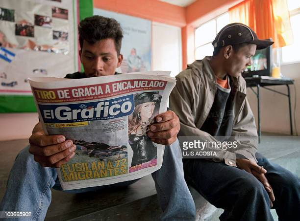Honduran migrants Jose Medina and Alex Hernandez await at the San Juan Diego shelter in Lecheria 30 km north of Mexico City on August 27 2010 Blame...