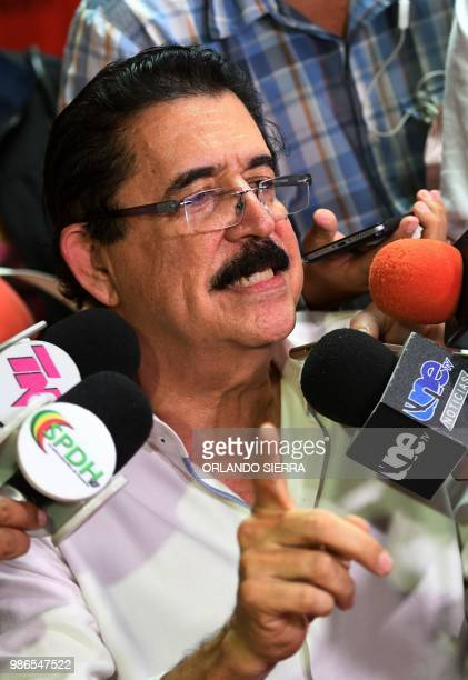 Honduran opposition leader Manuel Zelaya a former president ousted by the military gives a press conference on the 9th anniversary of his overthrow...