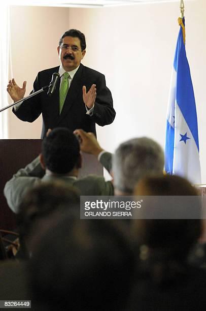 Honduran President Manuel Zelaya speaks during the seminar Estrategia y desafios en la Ratificacion e Implementacion del Protocolo Facultativo de la...