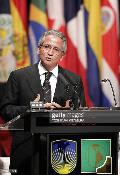 Honduran President Ricardo Maduro delivers his address during the inaugural session of the InterAmerican Development Bank's annual meeting at Okinawa...