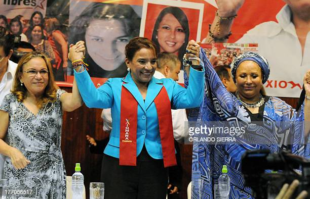 Honduran presidential candidate for the Liberty and ReFoundation Party party Xiomara Castro Colombian former senator Piedad Cordoba and the...