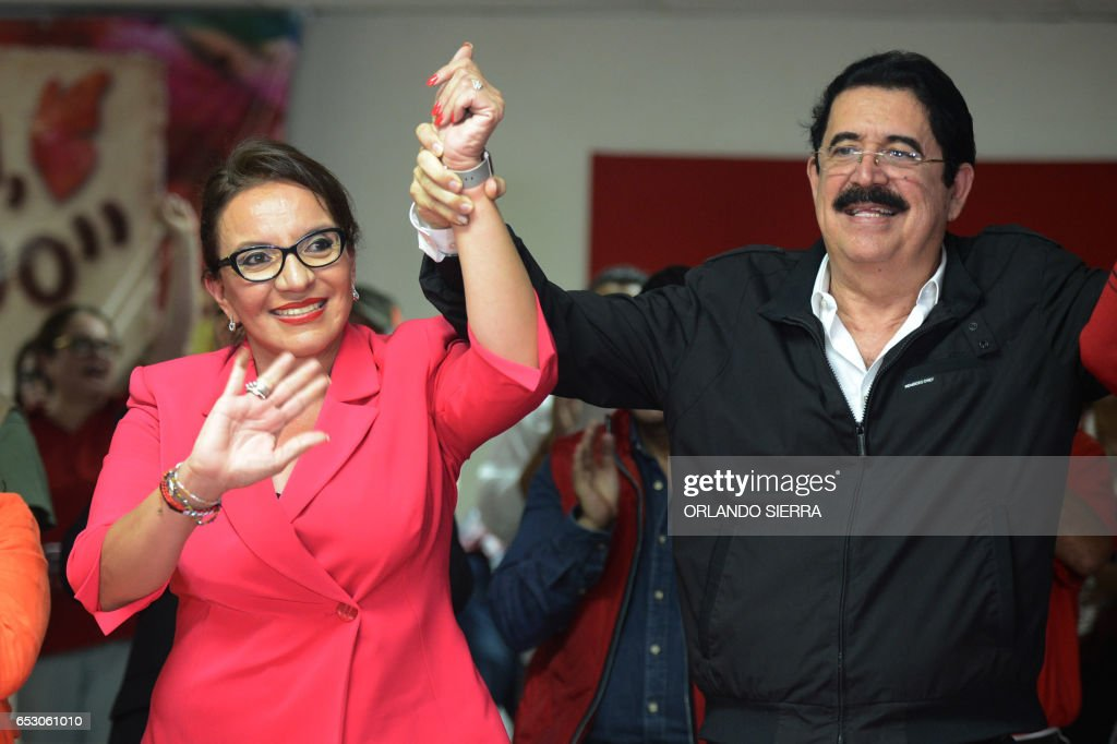 Honduran presidential candidate for the opposition LIBRE party, Xiomara Castro de Zelaya and her husband, ousted president Manuel Zelaya are pictured in Tegucigalpa, on March 13, 2017. SIERRA