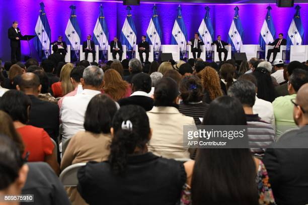 Honduran presidential candidates Eliseo Vallecillos of the Vamos party Alfonso Dias of the Democratic Unification party Lucas Aguilera of the...