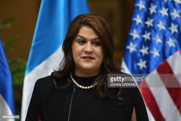 Honduran Secretary of Foreign Affairs Maria Aguero speaks during a joint press conference with US Homeland Security Secretary Kirstjen Nielsen and...