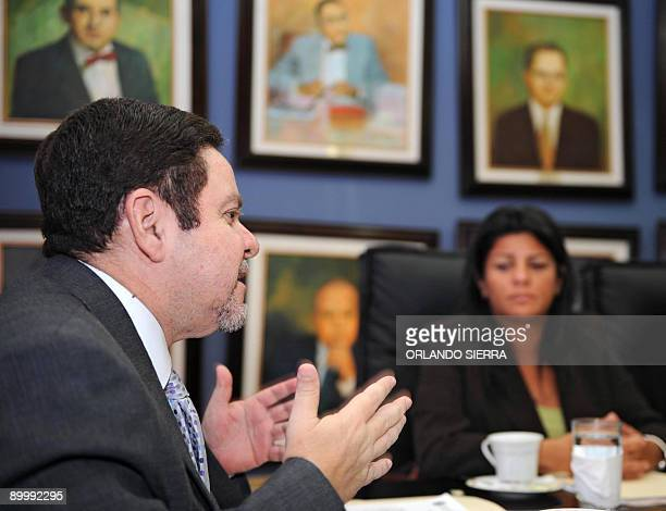 Honduran Supreme Court president Jorge Rivera speaks during a meeting with the president of the InterAmerican Commission on Human Rights Patricia...
