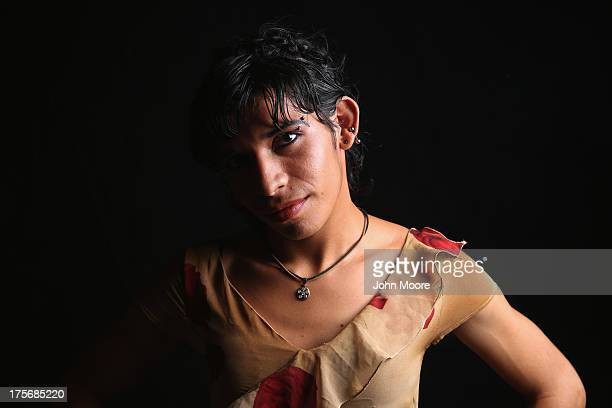 Honduran transgender immigrant Daniela spends spends time at the Hermanos en el Camino immigrant shelter on August 5 2013 in Ixtepec Mexico She has...