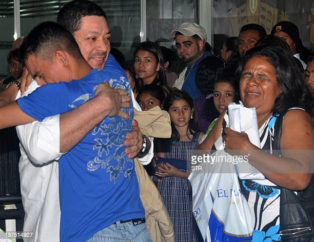 Honduran tripulants of the Costa Concordia are received by their families in Ramon Villeda Morales Airport in San Pedro Sula 240 kms to the north of...
