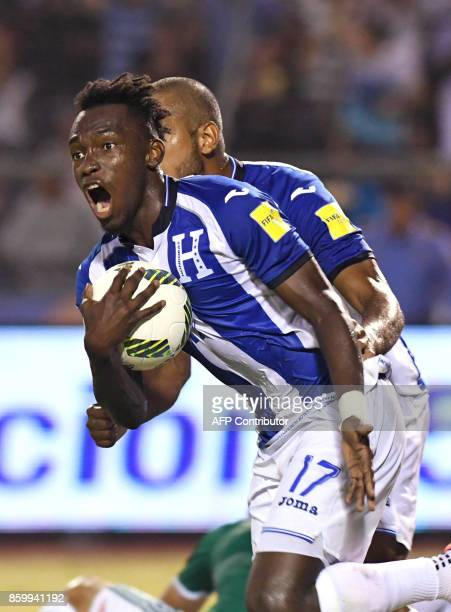 Honduras' Alberth Elis celebrate after scoring against Mexico during their 2018 World Cup qualifier football Match in Olimpico Metropolitano stadiun...