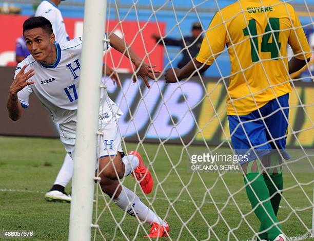 Honduras' Andy Najar celebrates after scoring the team's second goal against French Guiana during the Concacaf Gold Cup qualifying playoff match at...