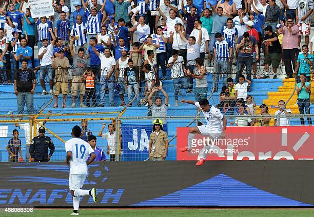 Honduras' Andy Najar celebrates his first goal against French Guiana during the Concacaf Gold Cup qualifying playoff match at the Olimpico...