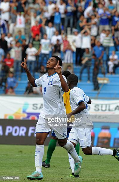 Honduras' Antony Lozano celebrates the third goal against French Guiana during the Concacaf Gold Cup qualifying playoff match at the Olimpico...