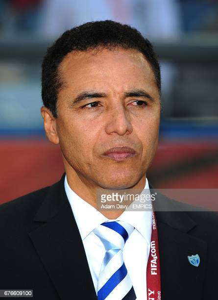 Honduras assistant coach Alexis Mendoza on the touchline in the absence of their head coach Reinaldo Rueda who recieved a toucline ban in a previous...