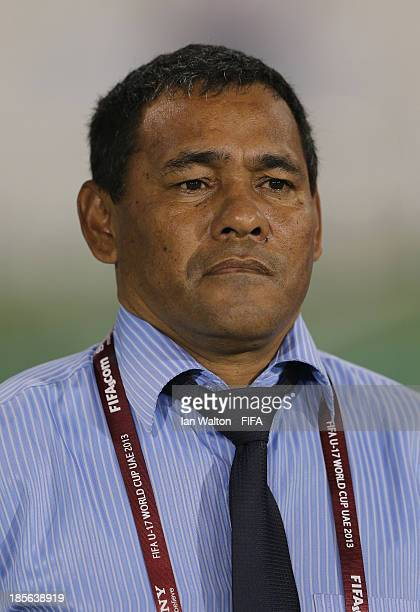 Honduras coach Jose Valladares line up during the Group A FIFA U17 World Cup match between Honduras and Brazil at Ras Al Khaimah Stadium on October...