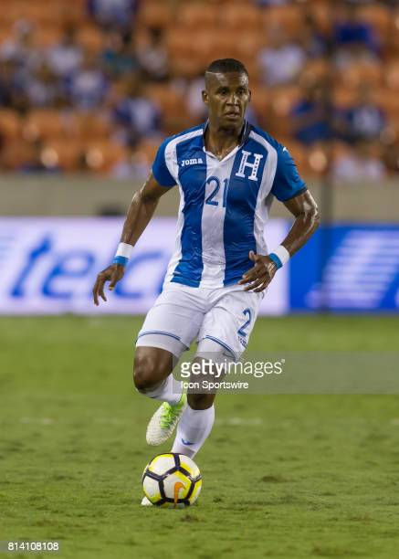 Honduras defender Brayan Beckeles moves the ball down the pitch during the CONCACAF Gold Cup Group A match between Honduras and French Guiana on July...