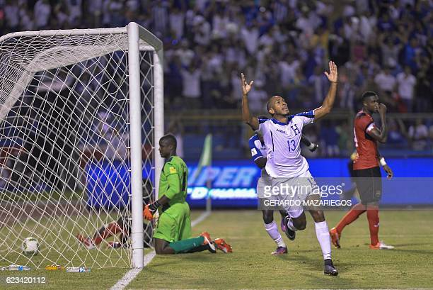 Honduras' Eddie Hernandez celebrates after scoring against Trinidad Tobago during their 2018 FIFA World Cup qualifier football match in San Pedro...