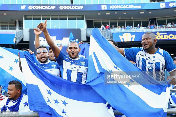 Honduras fans cheer on their team before the 2015 CONCACAF Gold Cup match between Honduras and Panama at Gillette Stadium on July 10 2015 in Foxboro...