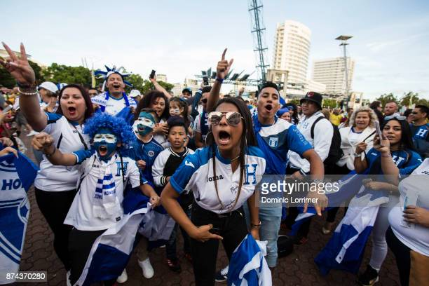 Honduras Fans get excited before the 2018 FIFA World Cup Qualifiers Leg 2 match between the Australian Socceroos and Honduras at ANZ Stadium on...
