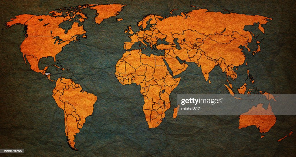 Honduras Flag On Old Vintage World Map Stock Photo | Getty Images