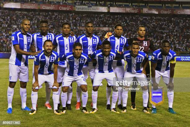 Honduras' football team pose for a picture before the start of their 2018 World Cup qualifier football match against Mexico in San Pedro Sula...