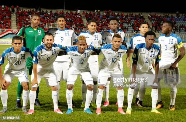 Honduras' football team poses before the start of their FIFA World Cup 2018 CONCACAF qualifiers football match against Trinidad and Tobago, in Couva,...