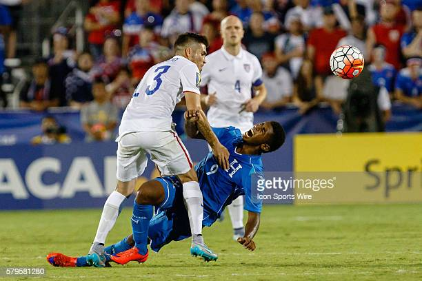 Honduras forward Antony Lozano his fouled by United States defender Ventura Alvarado during the Group A CONCACAF Gold Cup stage match between the...
