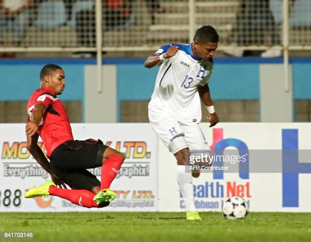 Honduras' forward Carlo Costly runs with the ball during their FIFA World Cup 2018 CONCACAF qualifiers football match in Couva Trinidad and Tobago on...