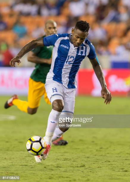 Honduras forward Romell Quioto dribbles the ball during the CONCACAF Gold Cup Group A match between Honduras and French Guiana on July 11 2017 at...