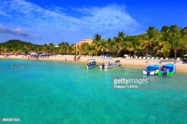 honduras, islas de la bahia, roatan island. west bay. mahogany bay - honduras stock pictures, royalty-free photos & images