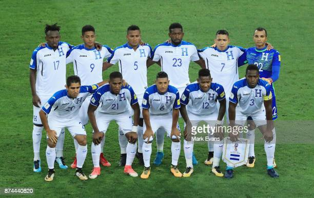 Honduras line up for a team photo before the 2018 FIFA World Cup Qualifiers Leg 2 match between the Australian Socceroos and Honduras at ANZ Stadium...