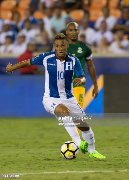 Honduras midfielder Alex Lopez moves the ball down the pitch during the CONCACAF Gold Cup Group A match between Honduras and French Guiana on July 11...
