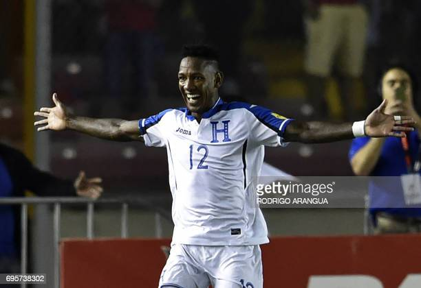 Honduras' midfielder Romell Quioto celebrates after scoring a goal against Panama during a FIFA World Cup Russia 2018 Concacaf qualifier match in...