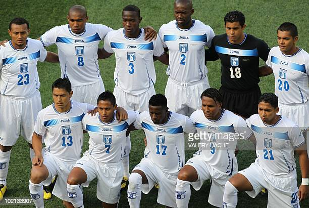 Honduras' players pose for a group picture before the start of their Group H first round 2010 World Cup football match against Chile on June 16 2010...