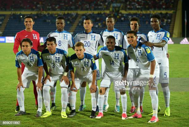 Honduras players pose for a team photograph during the FIFA U17 World Cup India 2017 group E match between Honduras and Japan at Indira Gandhi...