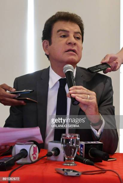Honduras' presidential candidate for the Opposition Alliance against Dictatorship party Salvador Nasralla speaks with the press in Tegucigalpa on...