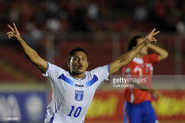 Hondura's Ramon Nunez celebrates after scoring against Costa Rica during their UNCAF Coup match at the Rommel Fernandez stadium in Panama City on...