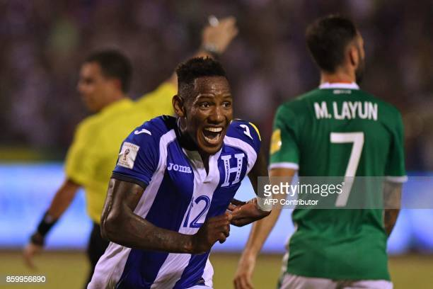 Honduras' Romell Quioto celebrates after scoring against Mexico during their 2018 World Cup qualifier football match in San Pedro Sula Honduras on...