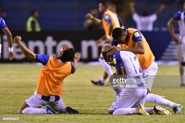 Honduras' Romell Quioto celebrates with teammates after scoring against Mexico during their 2018 World Cup qualifier football match which they won in...