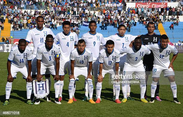 Honduras' team poses for a picture before their Concacaf Gold Cup qualifying playoff match against French Guiana at the Olimpico Metropolitano...