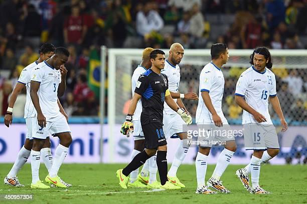 Honduras walk off the field at the half during the 2014 FIFA World Cup Brazil Group E match between Honduras and Ecuador at Arena da Baixada on June...