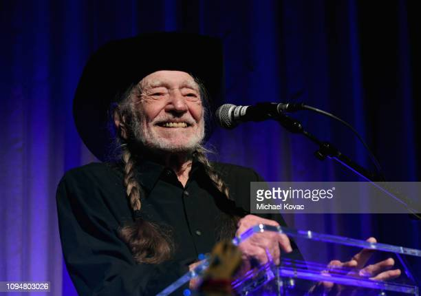 Honeree Willie Nelson speaks at the Producers Engineers Wing 12th annual GRAMMY week event honoring Willie Nelson at Village Studios on February 6...