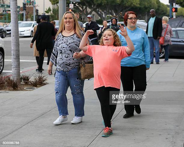 Honey Boo Boo and Mama June are seen on January 18, 2016 in Los Angeles, California.