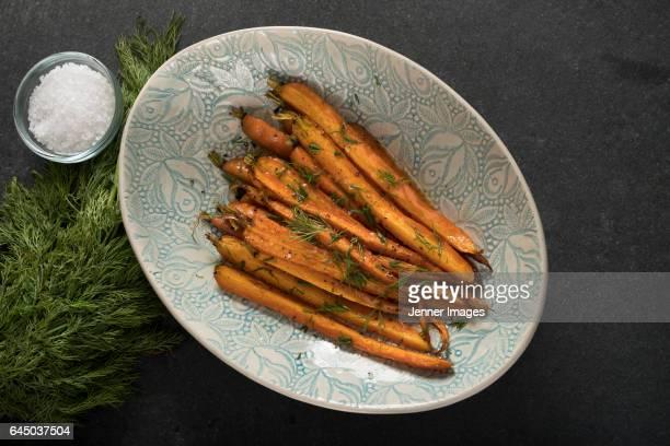 Honey glazed roasted carrots.