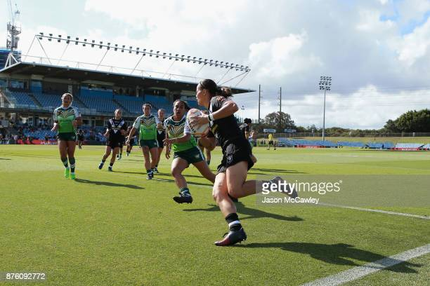 Honey Hireme of New Zealand scores a try during the 2017 Women's Rugby League World Cup match between New Zealand and Cook Islands at Southern Cross...