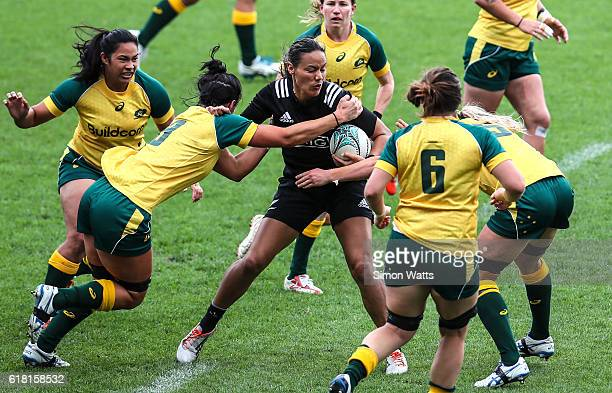Honey Hireme of the Black Ferns is tackled during the International Test match between the New Zealand Black Ferns and Australia Wallaroos at North...